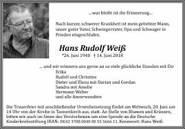 Hans Rudolf Weiß Trauer Traueranzeigen Nachrufe Badische