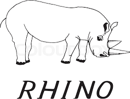 hand draw a sketch in the style of a rhino on a black white background used for banners flyers coloring books tattoo stock vector colourbox