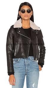 women lamb detachable shearling fur collar aviator moto leather jacket doma black retro