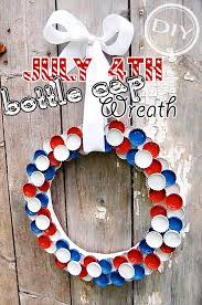 Decorated Bottle Caps DIY July 60th Bottle Cap Wreath Top Easy Patriot Holiday Interior 55