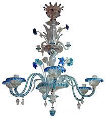 antique murano chandelier in blue glass