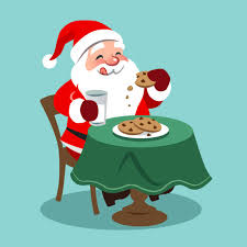cookies for santa clip art.  Cookies Vector Cartoon Illustration Of Happy Looking Santa Claus Sitting At Table  And Eating Cookies With Milk Intended Cookies For Clip Art C