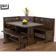 santa fe wood dining nook set with side bench in dark chocolate