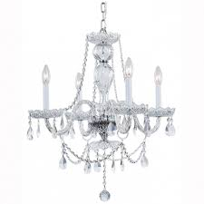 fantastic hampton bay lake point 4 light chrome and clear crystal chandelier home depot chandeliers crystal