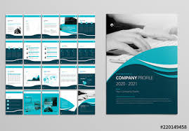 Company Profile Layout With Teal And Blue Accents Buy This