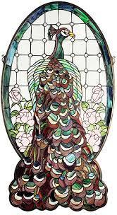 meyda tiffany 67135 peacock profile tiffany hanging stained glass window art loading zoom