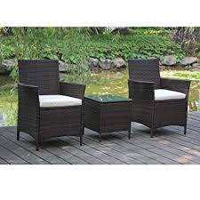 garden set. Perfect Garden VIVA HOME Patio Rattan Outdoor Garden Furniture Set Of 3PCS Wicker Chairs  With Table Throughout I