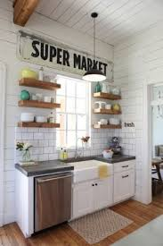 Open Shelving Farmhouse Sink Subway Tile Wood White Palette