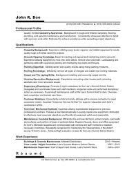 Carpenter Resume Objective 18 Example Will Give