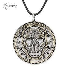 thomas yellow skeleton skull disc pendant necklace european ts style fine jewelry gift for