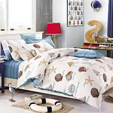 kids beach themed seashell and starfish print holiday style 100 cotton twin full size bedding sets