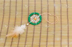 Bamboo Dream Catcher Beautiful Dream Catcher On Bamboo Mat Background Stock Photo 80