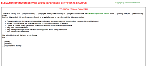 Service Certificate Format Elevator Operator Service Job Experience Letter
