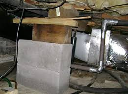 jacking up floor joists crawl space. Brilliant Floor A Poorly Designed Crawl Space Support System Installed In Dundas Home And Jacking Up Floor Joists Crawl Space