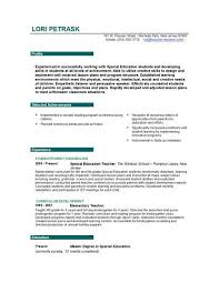 Resumes For Teaching Jobs Resume Sample
