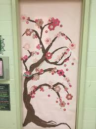 Spring classroom door: Japanese cherry blossom tree