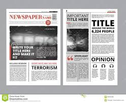 Cover Page For Project Newspaper Front Page With Several Columns And Photos Vector