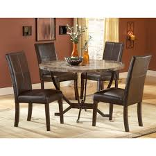 hilale furniture monaco matte espresso round dining table and four chairs