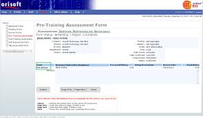 pre training assessment form after clicking the forms hyperlink from self assessment reviewer form screen mentioned above you will be directed to pre training assessment form detail