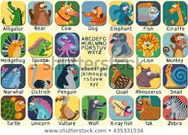 Alphabetical Order Icons Animals Alphabetical Order Names Stock Vector Royalty Free