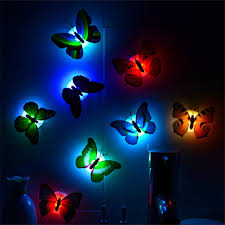 <b>1pc Butterfly</b> LED <b>Fairy</b> Night Light Multi-colored Changing Sticker ...