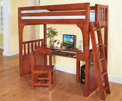 furniture veneered full size loft bed with desk and chair underneath powell z