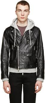 dsquared2 black grey hybrid leather jacket with hoo