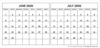 June July 2020 Calendar Blank June July 2020 Printable Calendar Archives Monday