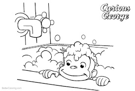Curious George Coloring Pages Take A Bath Free Printable Coloring