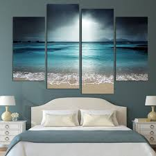 4 panel modern wall art home decoration painting canvas wall art prints pictures sea scenery with