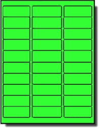 600 Fluorescent Neon Green Laser Only Labels 2 5 8 X 1 20 Sheets With 30 Labels Per Sheet Use Avery 5160 Template