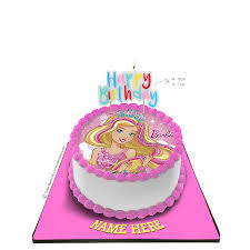 Barbie Cake With Happy Birthday Candle
