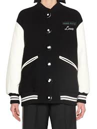 miu miu leather sleeve wool baseball jacket black