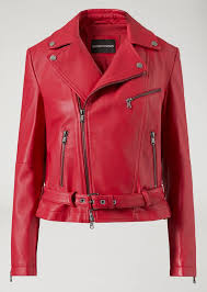 biker jacket in nappa leather emporio armani