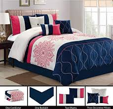 navy blue queen comforter. Contemporary Blue Modern 7 Piece Bedding MELON PINK NAVY BLUE GREY Floral Embroidered  Embossed QUEEN Comforter And Navy Blue Queen O