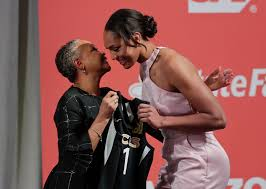 south ina s a ja wilson right is greeted by wnba president lisa borders