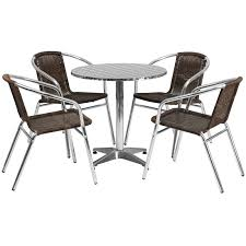 stainless steel outdoor set stainless table top w brown rattan chair
