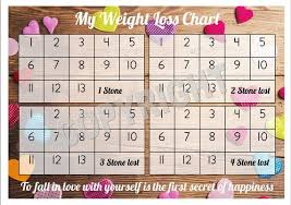 Weight Loss Chart Tracker 4 Stone Comes With Star Stickers Weight Loss Motivation A4 Laminated 300gsm Card
