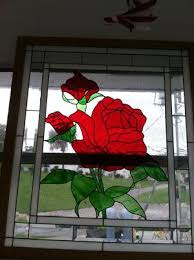 rose framed stain glass art piece wall decor for in delray beach fl