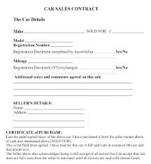 Purchase Agreement Contract Unique Used Car Contract Template Vehicle Sales Agreement With Payments
