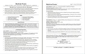 Sample resume for a marketing communications manager
