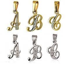 pendant diamond set script letter sterling silver or 9ct gold