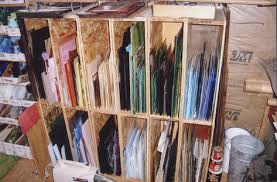 for all the smaller pieces of glass or medium ss i handle i have a book shelf that i made for this purpose it is 36 wide 72 tall and 12