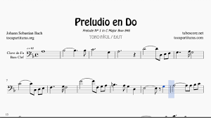 Prelude In C By Bach Sheet Music For Trombone Cello Bassoon Bass Clef
