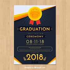 Elegant Graduation Announcements Free Elegant Graduation Invitation Template With Flat Design