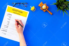 Mock Application Form Application Form For Adopt Child On Blue Table Background Top