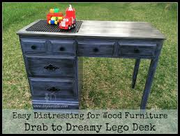 how to distress wood furniture in order to create a fabulous lego or duplo desk for