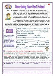 worksheet describing your best friend english worksheet describing your best friend