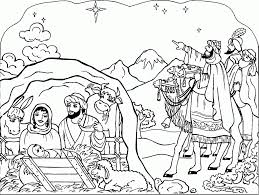 Full Nativity Coloring Page