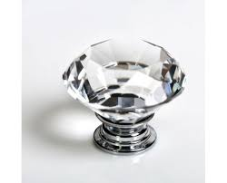 revesun 40mm clear crystal glass diamond shaped door knob cabinet cupboard pull drawer handle kitchen wardrobe